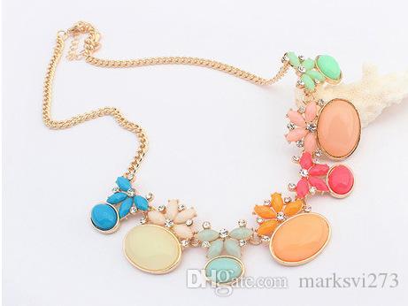 2015 Новые Красивые Модные Ювелирные Изделия Ожерелье Для Женщины Бусины Ожерелья Заявление Горный Хрусталь Конфеты Цвет Z104633