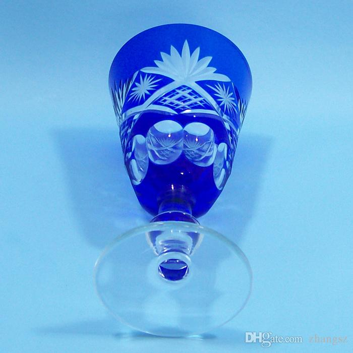 Bohemian Czech Cut to Clear cobalt blue Crystal Stems Goblets Wine Glasses white wine glass