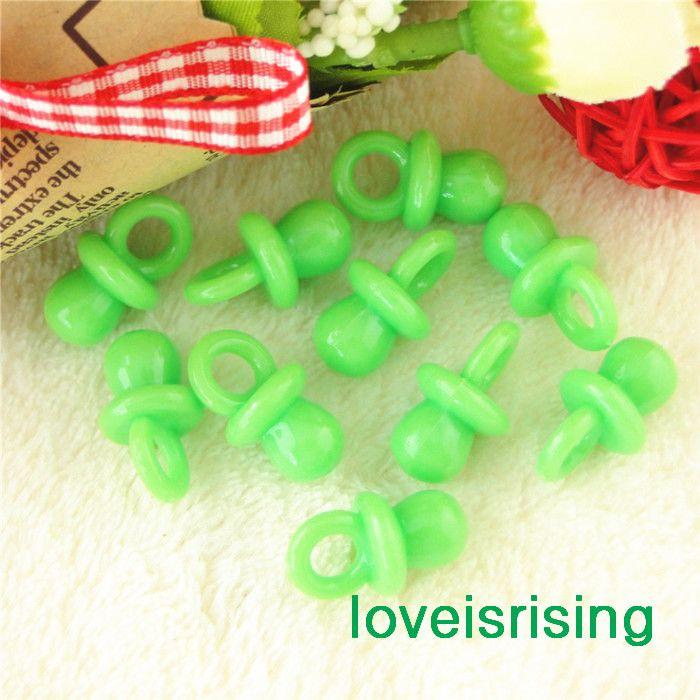 Frete grátis-Mini Acrílico Verde Verde Do Bebê Chupeta Do Bebê Favores Do Chuveiro ~ Encantos Bonito ~ decoração do queque