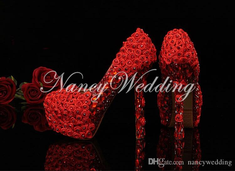 Flores blancas con cristales de plata diamantes de imitación tacones altos zapatos de boda de boda Ceremonia de graduación Zapatos de baile