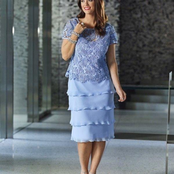 Großhandel Plus Size Mutter Braut Kleider 2015 Chiffon Knielangen ...