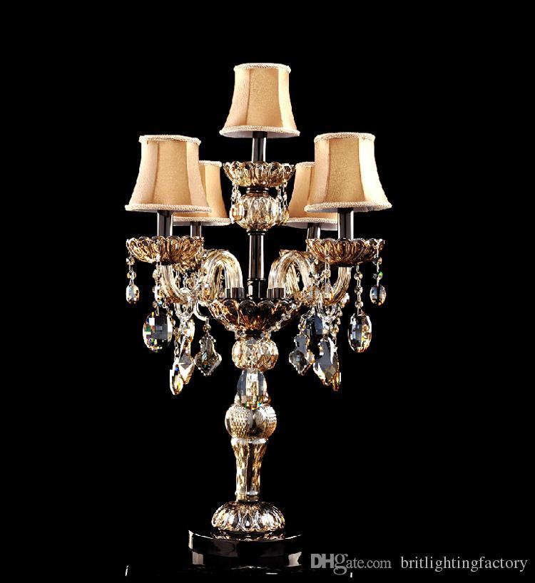 Modern masa lambaları yatak odası kristal masa lambası kumaş gölge ile LED masa aydınlatma oturma odası için 5 ışıklar için dest lamp düğün odası