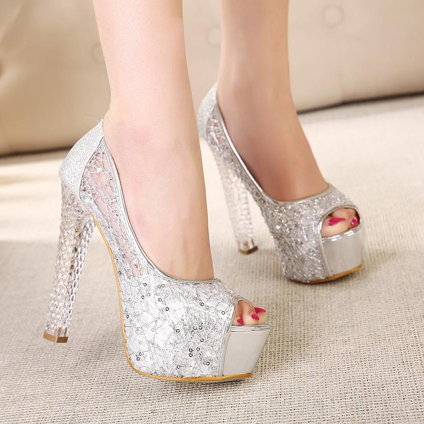 In Stock High Heel Gold Lace Silver Wedding Shoes Peep Toe Sequins Sandals Bridal