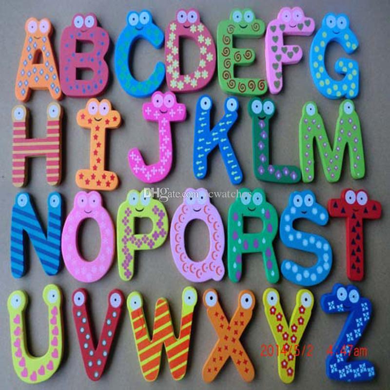 Ahşap Karikatür Alfabe Mektuplar Mıknatıslar Buzdolabı Sticker Ev Dekorasyon Çocuk Eğitim Ahşap Oyuncak Çocuklar Noel Hediyesi