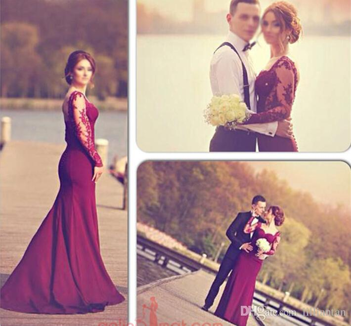 Burgundy Mermaid Long Sleeve Lace Prom Dresses with Backless Buttons Evening Gowns Party Dresses Pageant Gowns vestidos de formatura Vestido