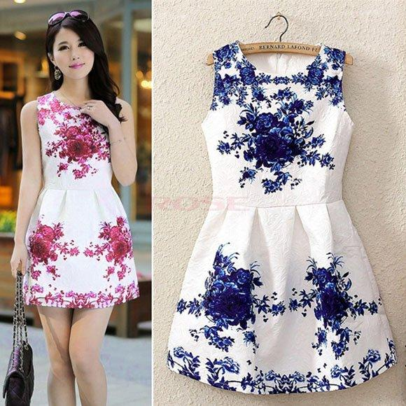 Summer Autumn Women Fashion Vintage Dress Women Chinese Porcelain ...
