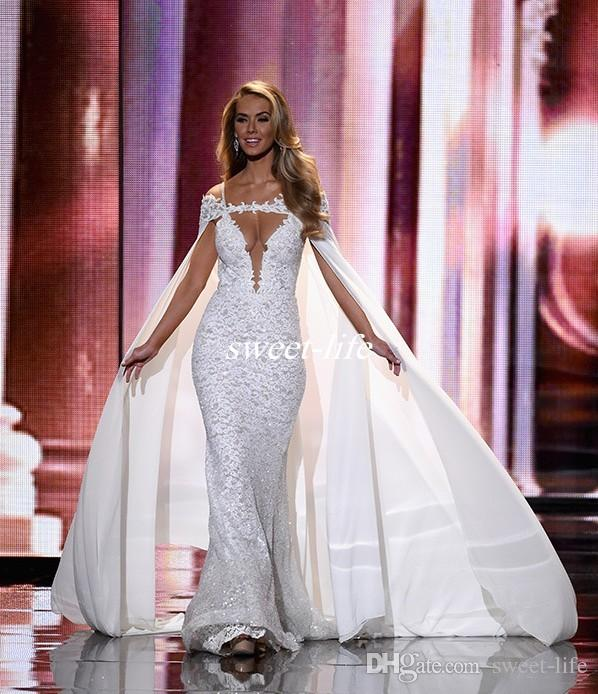 Chic Miss Universe Pageant Evening Dresses with Cape Off Shoulder Mermaid Lace Sequins 2019 Berta Bridal Gowns Celebrity Prom Dress