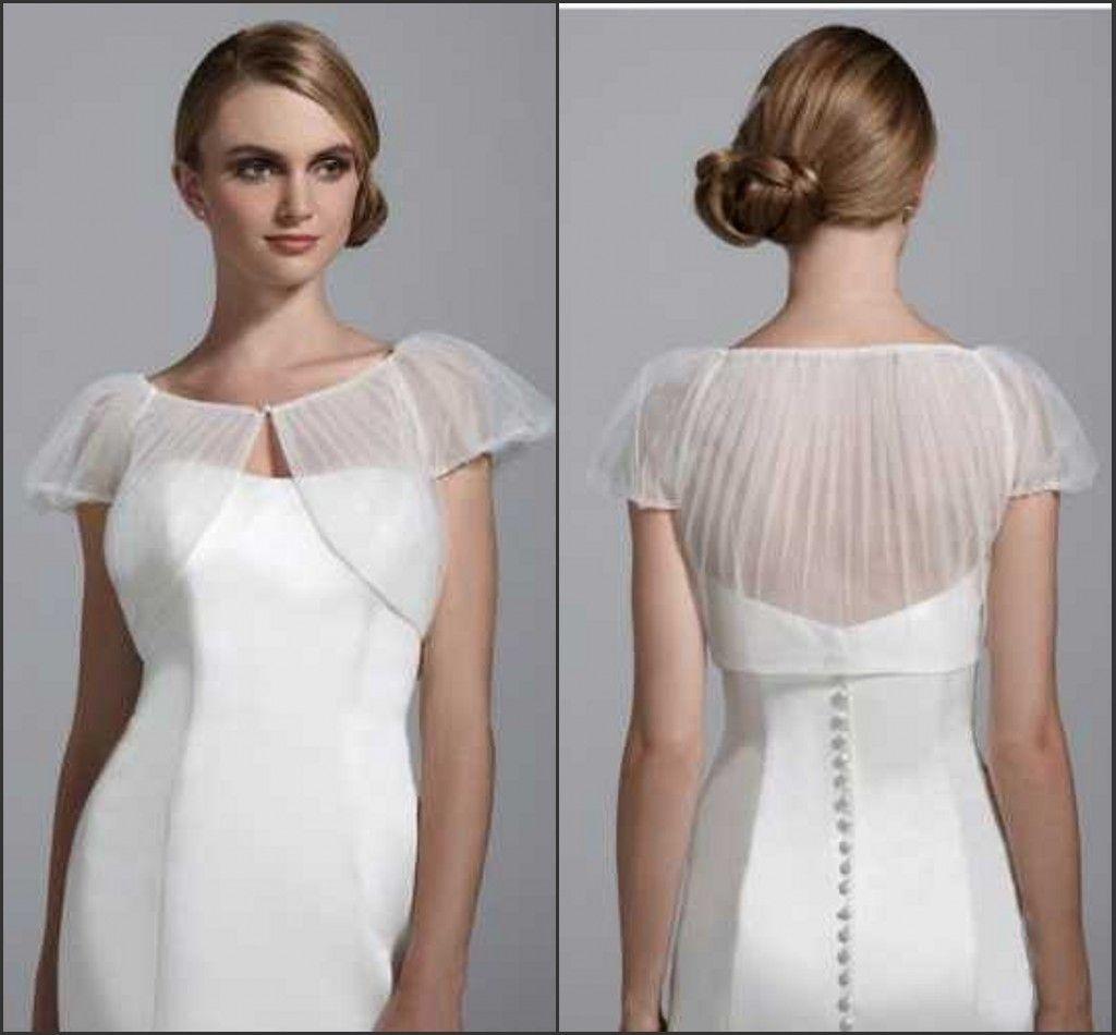 2018 2015 Short Sleeve Bolero Jacket Organza Jackets Bridal Shrug ...