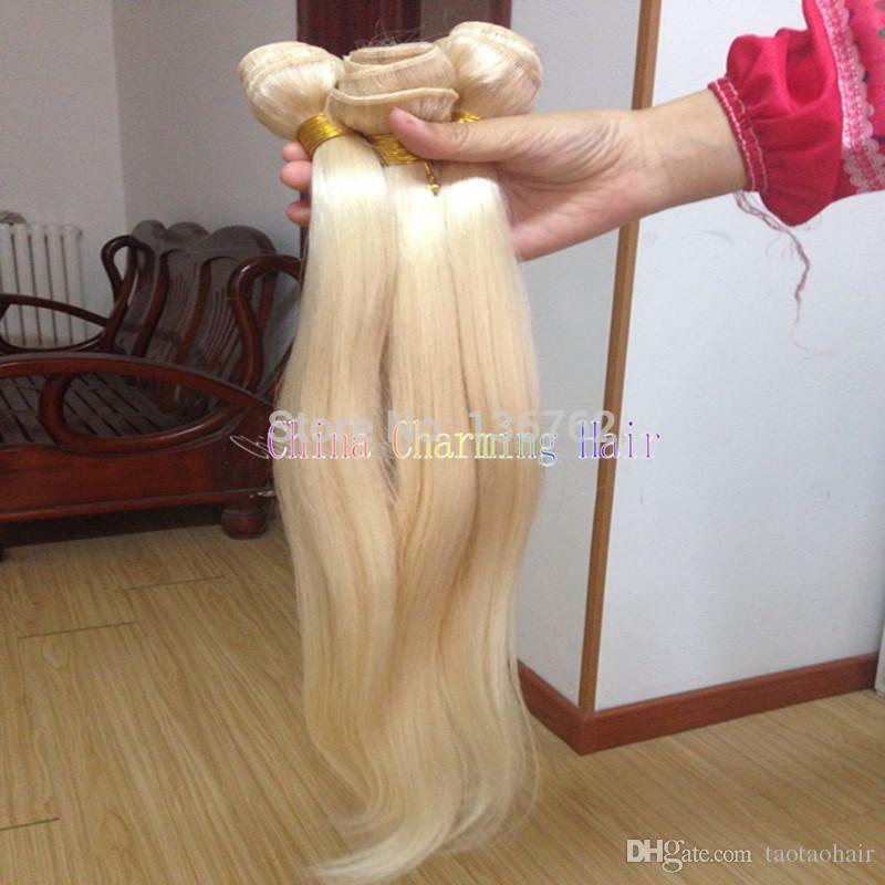 En Kaliteli Malezya Sarışın Saç Demetleri 613 Bakire Sarışın Düz Saç Örgüleri 100% İşlenmemiş İnsan Saç Uzantıları
