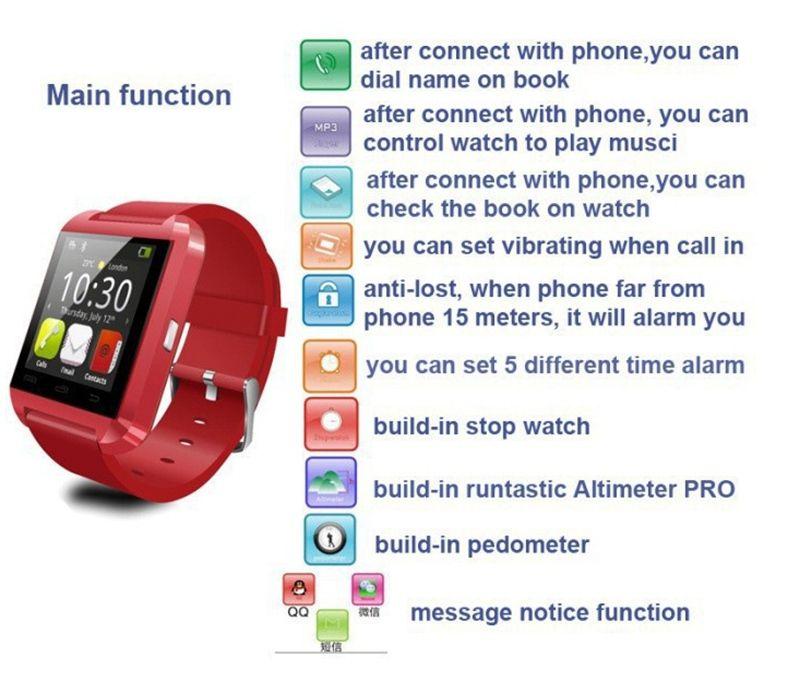Barato moda de nova smart phone watch bluetooth u8 smart watch 1.5 polegada de pulso para smartphones iphone android