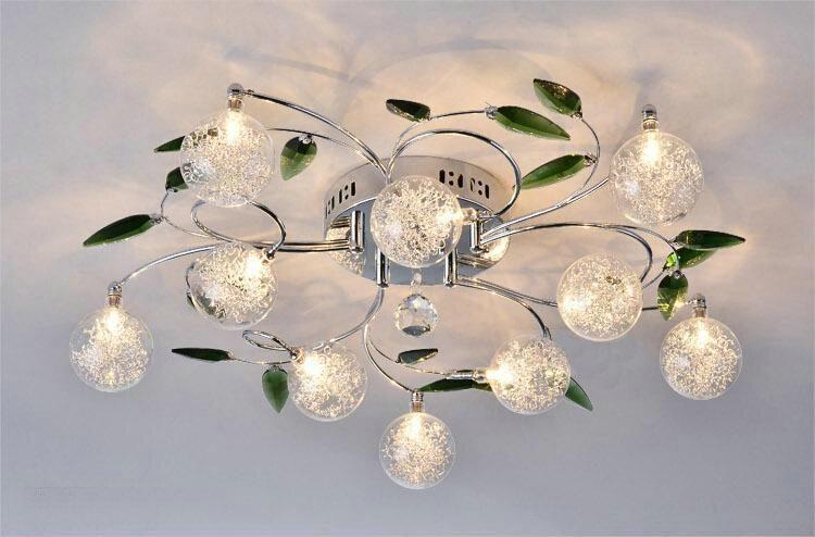 Crystal Leaves Aluminium Glass Balls Shade Ceiling Light Pendant - Chandelier leaves crystals