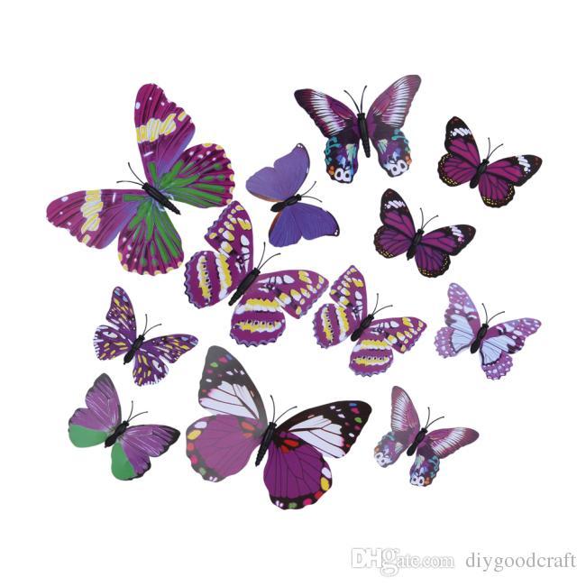 12pieces Lot Pvc Purple Butterfly 3d Wall