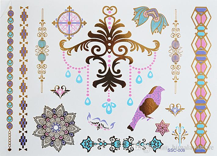 C26 All New Colored And Gold Tattoo Bohemian Style Waterproof Temporary Body By China Post Air Sexy Mandala Metallic