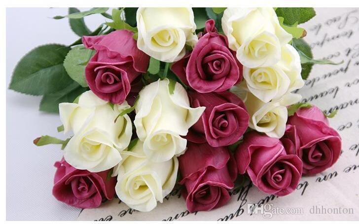PU Rose látex artificial flores falsas venda quente do escritório de natal decoração de casamento decorativo 5 cores escolher frete grátis