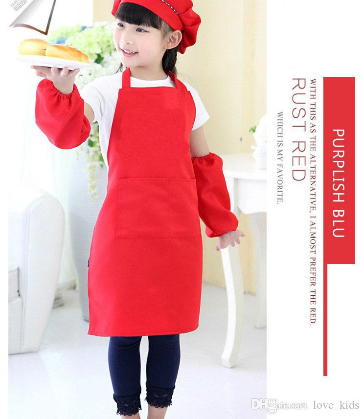 10 couleurs enfants tabliers de poche de cuisson cuisson art peinture enfants cuisine à manger bavoir fournitures de cuisine livraison gratuite