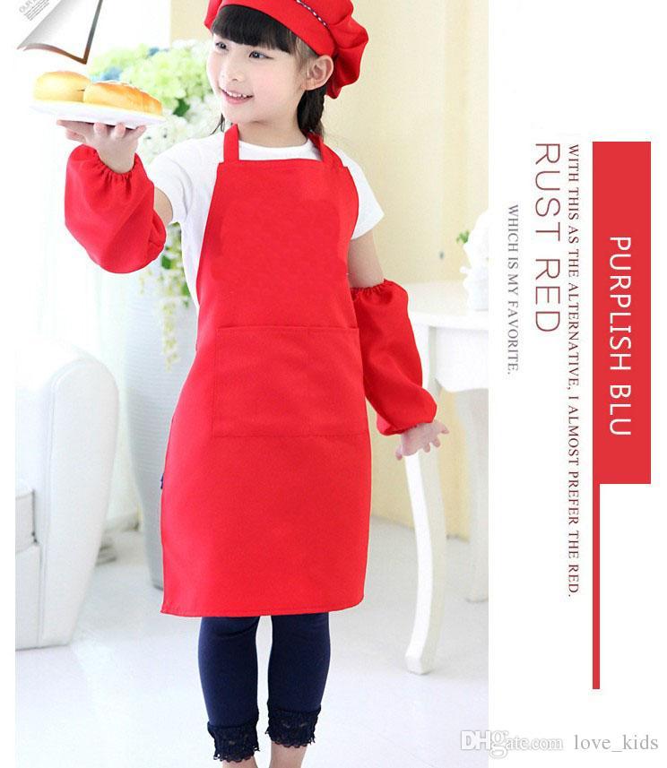 10 Farben Kinder Schürzen Tasche scarf Kochen Backen Kunst Malerei Kinder Küche Esszimmer Lätzchen Küche Liefert freies verschiffen