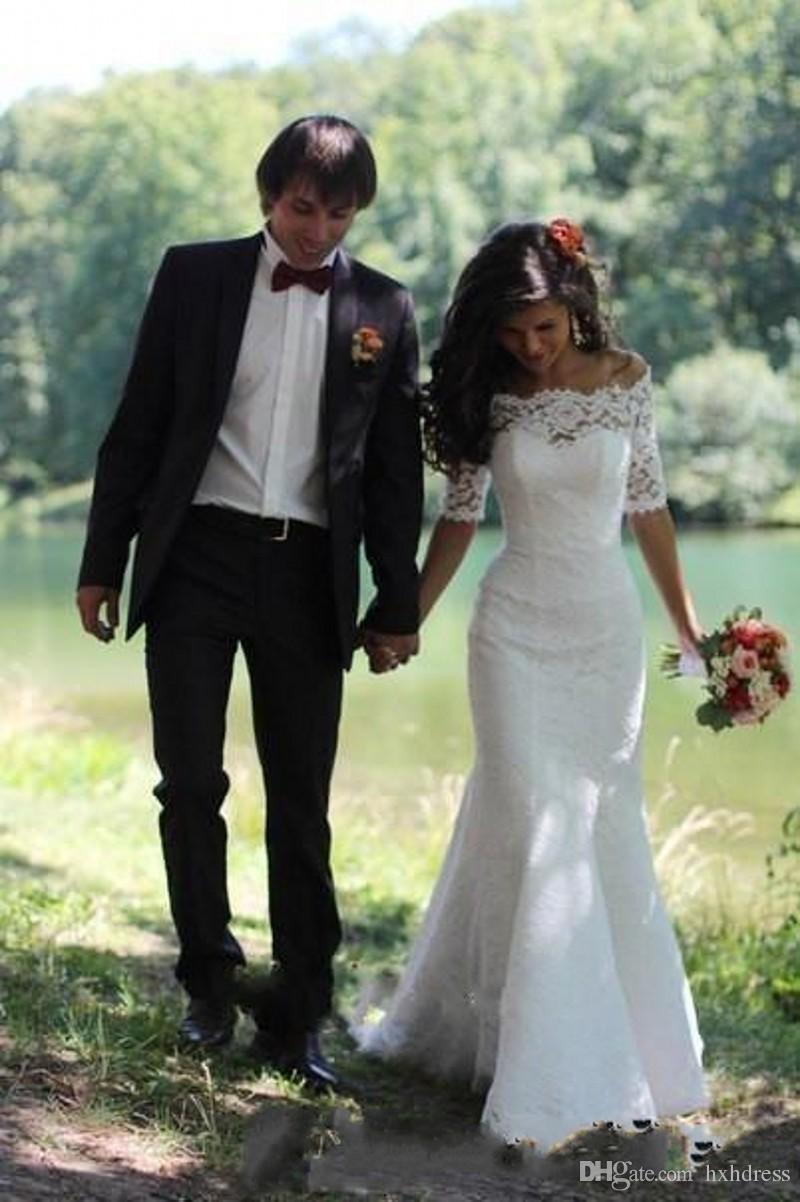 2020 neue preiswerteste Qualitäts-volle Spitze Brautkleider Mermaid Bateau Halbarm Sweep Stamm Brautkleider für Hochzeit nach Maß 048