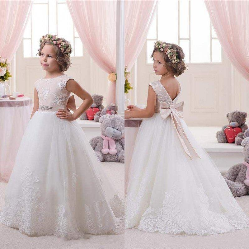 6f5e4f108a Elegant White And Champagne First Communion Dresses For Girls 2016 High  Quality Belt With Satin Bow Knot Flower Girl Dresses Flowergirls Dresses  Girls ...