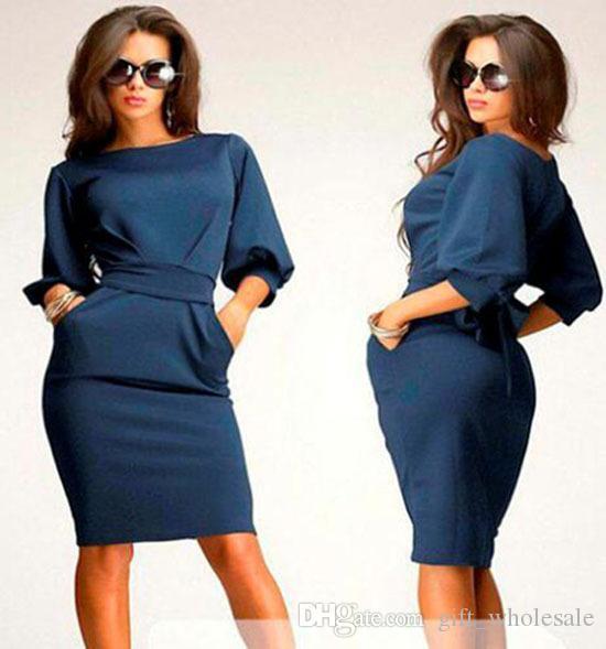 Casual Kleider für große Mädchen Kleid 2015 Frühling Sommer Dame Solide Slim Fit Halbarm Puffärmel Dressy Damen Kleidung Khaki Blau Navy