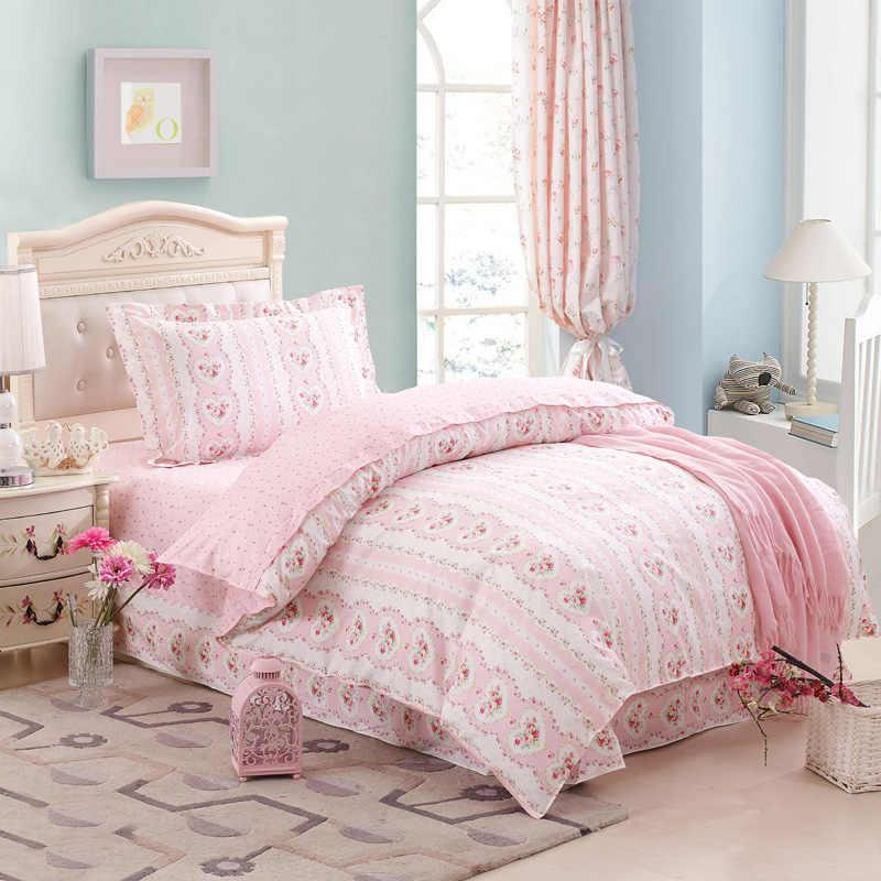 girls pink flower heart bed duvet cover sheet pillowcase 100 cotton twin size bedclothes comforter bedding sets home decor 3 or floral bedding blue bedding