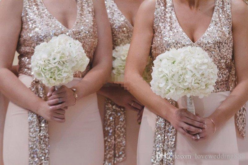 Gelinlik modelleri 2018 bir çizgi v boyun taban uzunluğu pembe şifon gül altın ışıltılı payetli düğün konuk elbise elbisesi uzun akşam