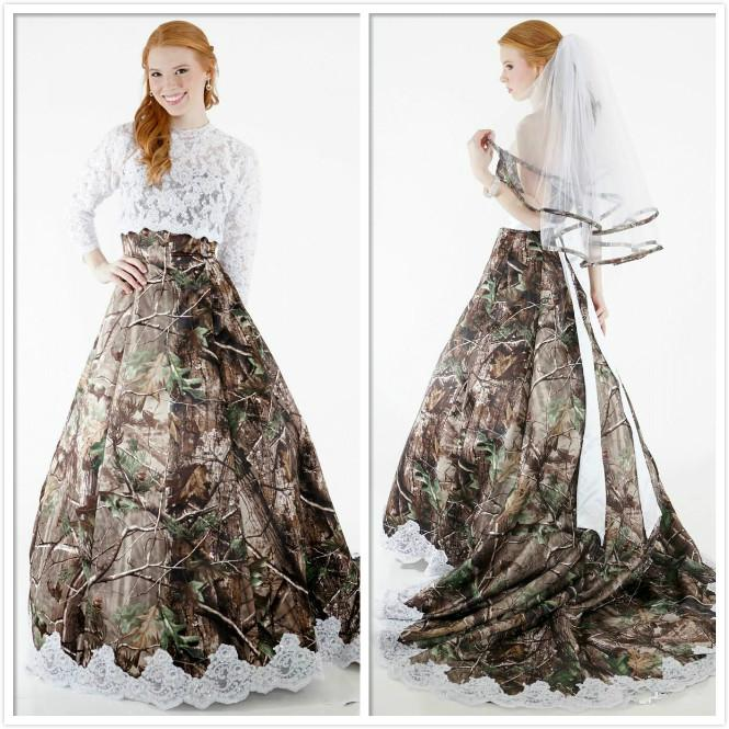 Discount Two Pieces 2015 Lace Camo Wedding Dresses Strapless With ...