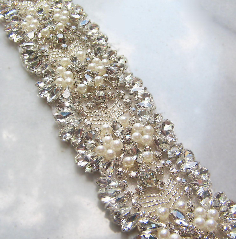 Splendidi telai nuziali Strass Perle Cristalli Punti Cinture scintillanti Accessori da sposa personalizzati