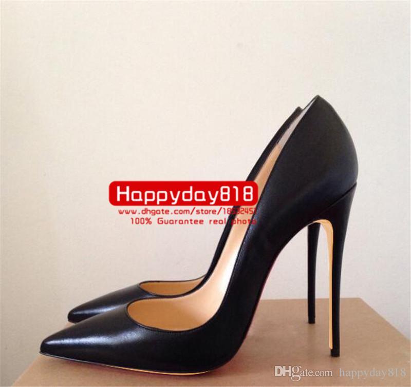 Ücretsiz kargo moda kadın pompaları Siyah çocuk deri nokta toe yüksek topuklar koni topuk ayakkabı botlar hakiki deri 120mm