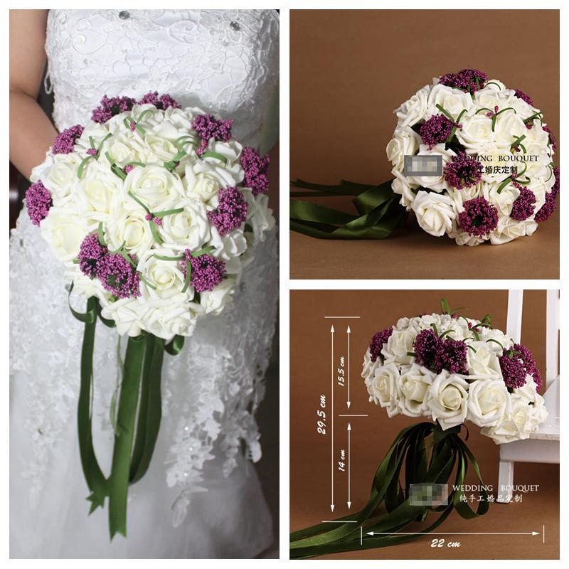 Simple Pe Flowers Bridal Bouquet Wedding Accessories Manual Purple ...