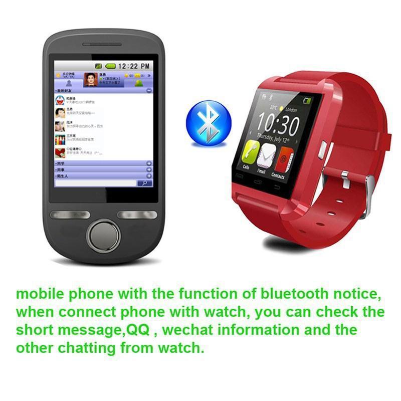 Bluetooth U8 Smart orologio da polso con altimetro iPhone 6 Samsung S6 Nota 5 HTC telefono Android in confezione regalo