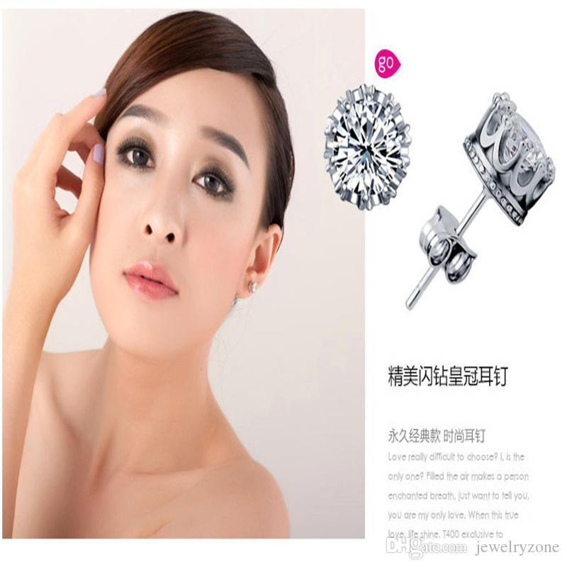 Austrian Crystal Crown Wedding Stud Earring S925 Silver Plating 30% White GOLD Studs Swarovski Elements Engagement Jewelry