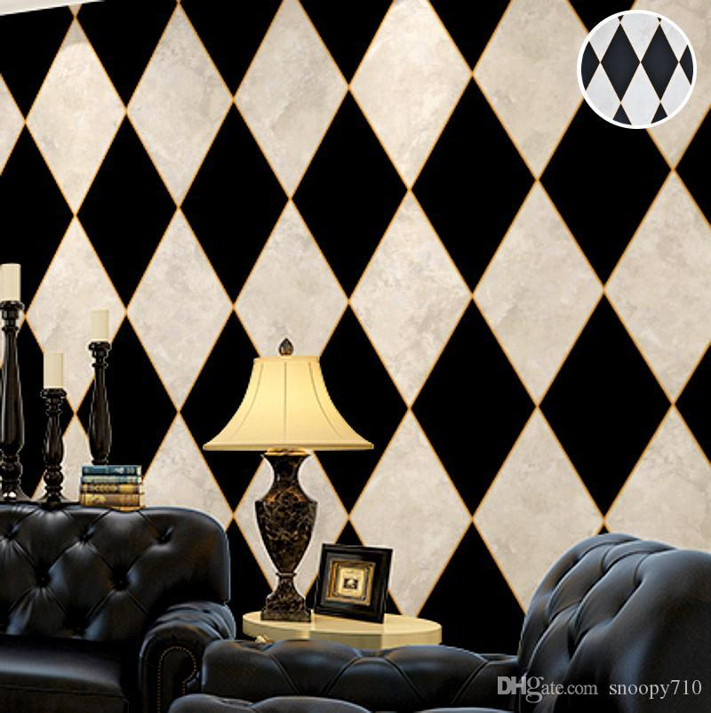 Black And White Diamond Chequered Or Checkered Wallpaper Vinyl Marble Rhombus Wall Paper Covering For Living Room Bedroom Christmas Computer