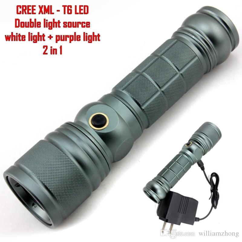 ALONEFIRE CREE XM-L T6 LED Adjustable Flashlight Lamp Light Torch Purple Light Q5 LED Ultraviolet flashlight Amber Scorpion Cosmetics - X1