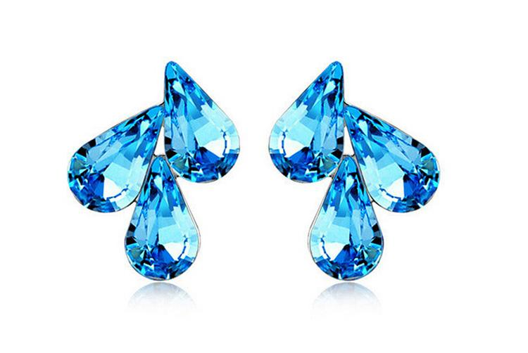 Austria Crystal Water Drop Stud Earrings For Women Best Gift Bride Earrings Jewelry Free Shiipping 8222