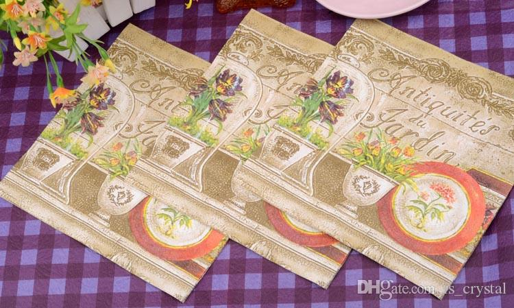 100% Virgin Wood Napkin Antique Flower Paint Christmas Party Disposable Placemats Tissue 2 layers Online SD912