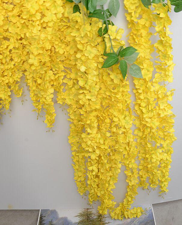 Artificial Hanging Wisteria Wedding Decorations Silk Flowers Vines decorative flowers great quality 164cm long Handmade Artificial Flower
