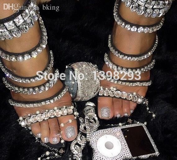 1b769d3a6453f9 Wholesale Newest Bling Bling Crystal Sandals Gladiator Rhinestone Sandals  Sexy Open Toe High Heel Sandals Saltwater Sandals Designer Shoes From  Bking