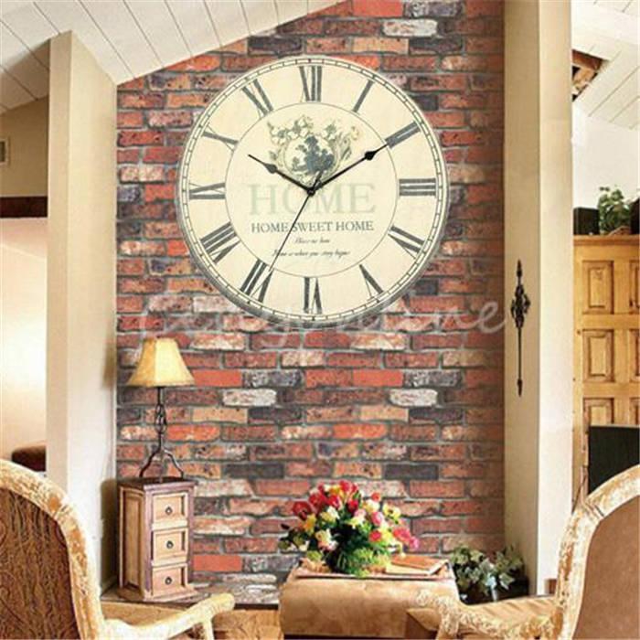 Compre envios gran reloj de pared vintage flor r stica - Reloj de pared de diseno ...