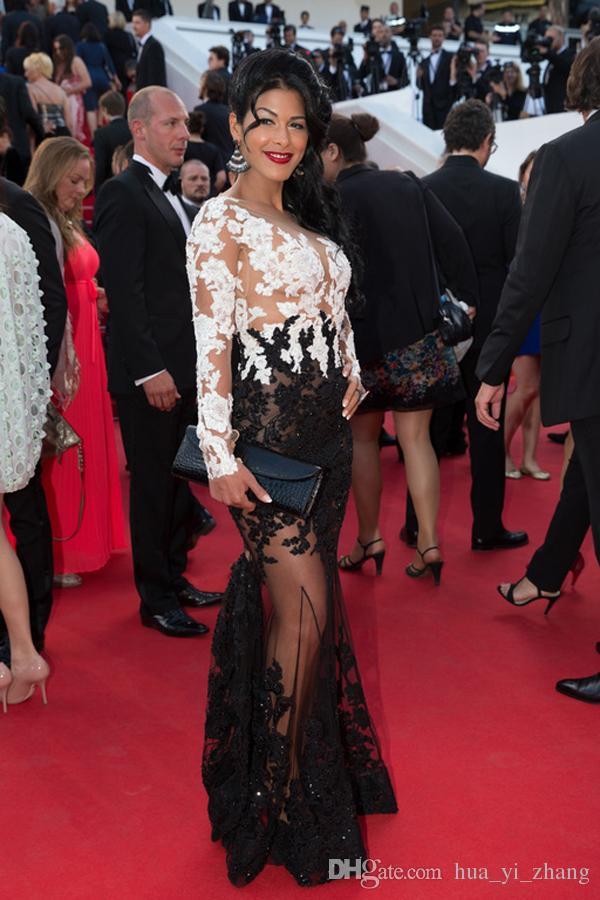 2015 vita och svarta kändis klänningar Ayem Nour Robe sjöjungfru formella kvällsklänningar Bateau Lace Sheer Red Carpet Dress Dhyz 01
