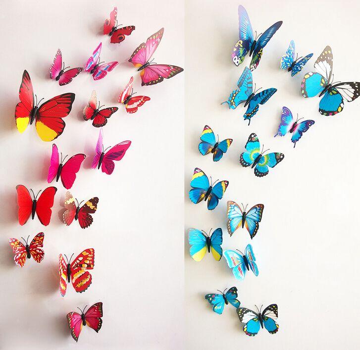 Detaliczna 12 Sztuk / Zestaw Naklejki Ścienne 3D PVC Motyl Naklejki Beauti Twój salon Sypialnia Boże Narodzenie Wall Art Nowa Wyłączna sprzedaż