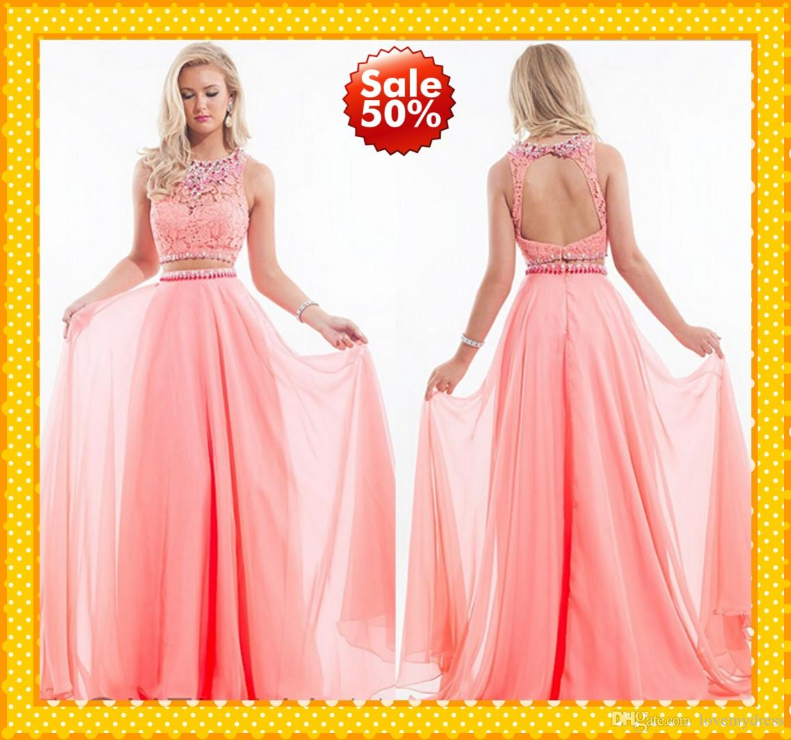 Latest Coral Two Piece Prom Dresses Chiffon Crew Collar Lace ...