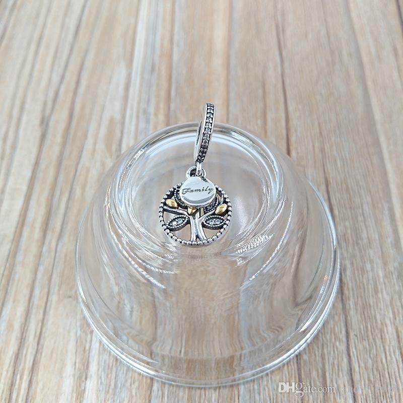 Placcato oro 925 perline in argento sterling in argento family Heritage Ciondolo Adatto a ciondolo Bracciali europei Pandora Bracciali in stile Pandora Collana 791728CZ