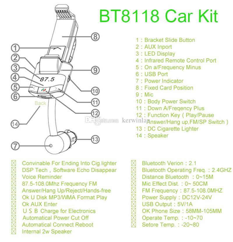 Bluetooth Car Kit Con Telecomando Supporto auto Trasmettitore FM Auto Mp3 Caricatore auto caricatore iPhone Samsung Smartphone