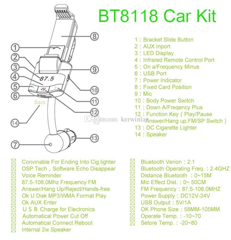 Kit de coche Bluetooth con mando a distancia Soporte de teléfono transmisor de FM Coche reproductor de música MP3 Cargador de coche para iPhone Samsung Smartphone