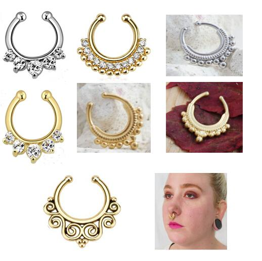 2018 Body Jewelry Clip Fake Septum er Non Piercing Gold