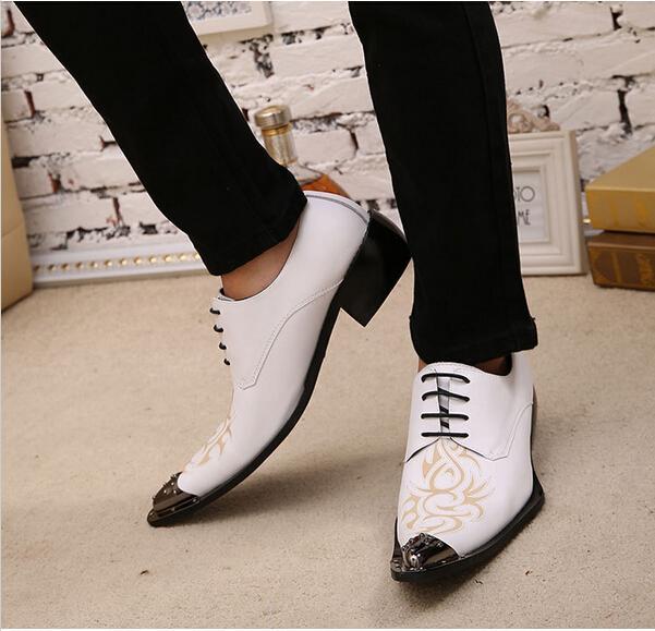 Белый черный платье обувь для мужчин печатных натуральная кожа металл острым носом с заклепками мужская этап партии обувь плюс размер Оптовая