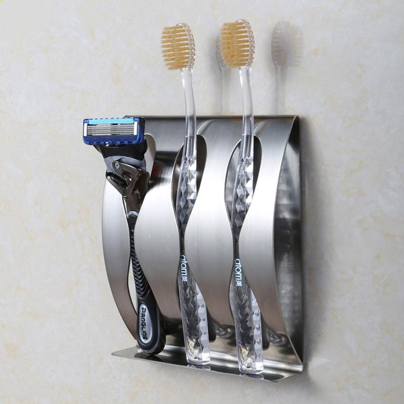 Stainless Steel Wall Mount Toothbrush Holder Position Self