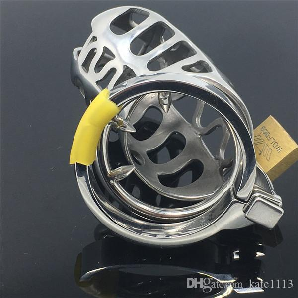2017 New design Lock Male Chastity Belt Cock Cage Stainless Steel Chastity Device Adult Sex Toys for Male Festish Products BDSM