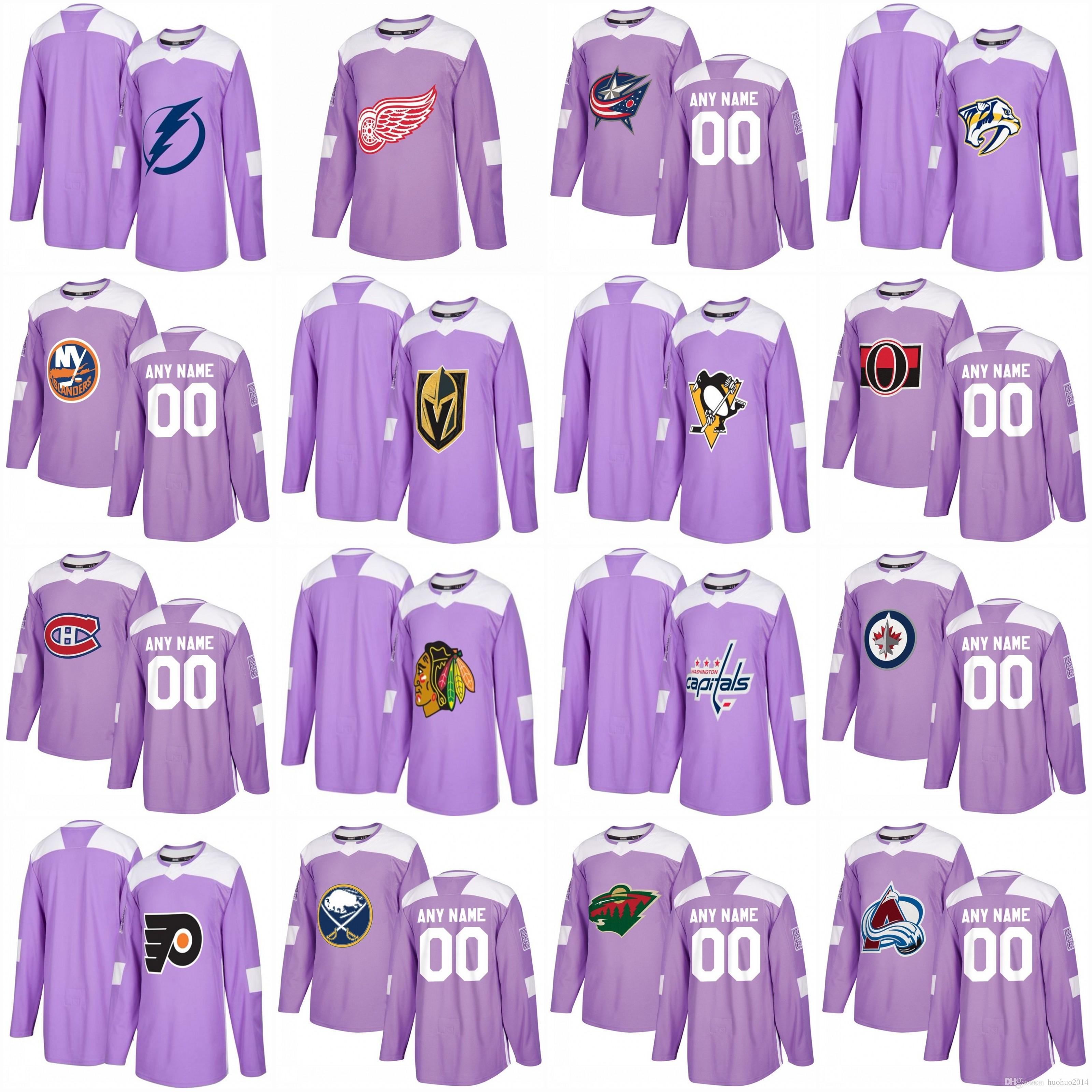 watch 5dda2 d2678 2017 Purple Hockey Fights Cancer Practice Jersey Vegas Golden Knights  Blackhawks Penguins Canadiens Senators Capitals Rangers Custom Jerseys