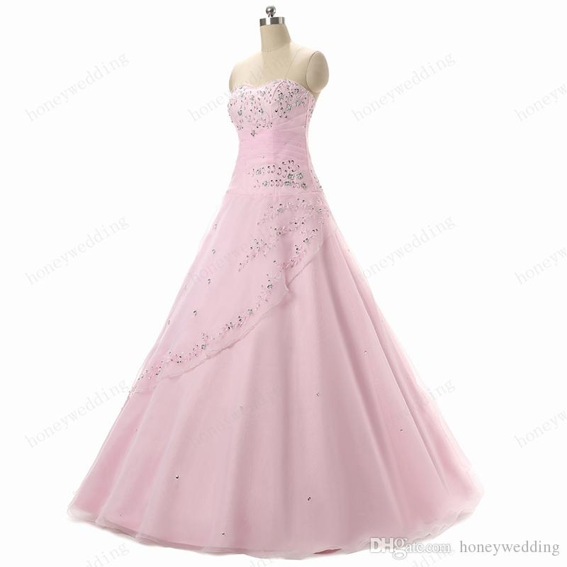 Sweet 16 Girls Light Pink Quinceanera-jurken 2016 Sweetheart Sequin Beaded Organza Goedkope Tieners Masquerade Prom Ball Town Jurken Echte Foto's